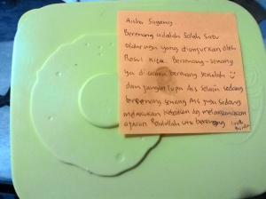 Pesan post-it kepada Aisha ttg berenang